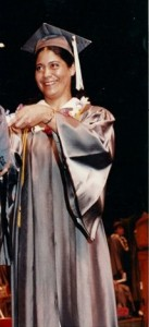 Jorge's mother in 1987, healthy and getting her degree in Hospitality Management.