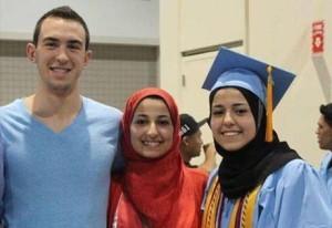 From left: Deah Barakat, Yusor Abu-Salha, Razan Abu-Salha, were killed in Chapel Hill, NC on February 10, 2015 by Stephen Hicks.