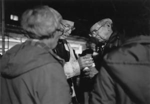 Jean Greeen, Lloyd Williams and Gordon Bunbridge at a 1984 vigil for nuclear disarmament (Photo: Gregory Fox