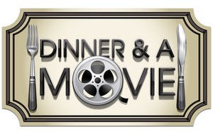"[Image description: the words ""Dinner & A Movie"" where the ""O"" in movie is replaced with an old-style film reel. There is a fork to the left of the words and a knife to the right, and the border around the graphic is shaped like a movie ticket]"
